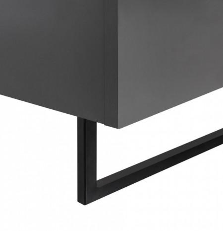 Pat tapitat SKOP III tesatura/PAL/metal, gri, 180 x 200 cm cu saltea SMOOD inclusa