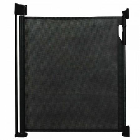 Poartă de siguranță retractabilă pentru copii, negru, 90 x 120 x 9 cm