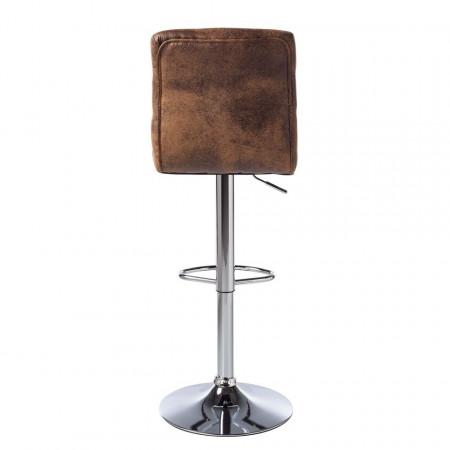 Scaun de bar Kamloops, piele sintetica/metal, maro antichizat