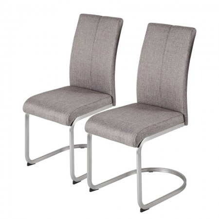 Set de 2 scaune Bruce - tapiterie/otel inoxidabil - bej
