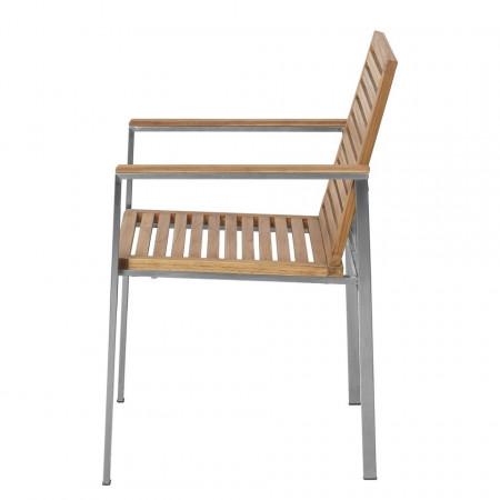 Set de 2 scaune de gradina Teakline Exklusiv VI lemn masiv/otel inoxidabil, maro, 55 x 86 x 58 cm