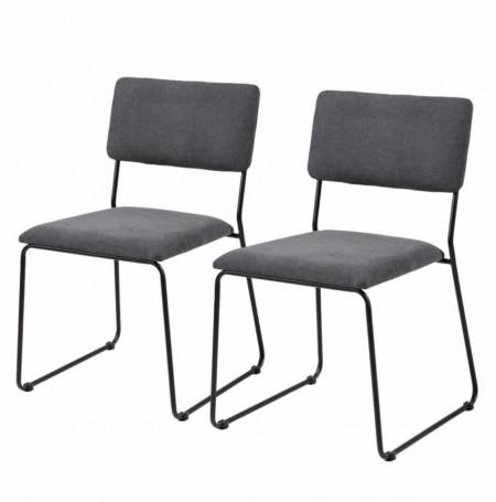 Set de 2 scaune Paulista tesatura/fier, negru, 50 x 80 x 54 cm