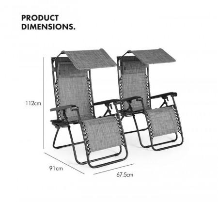Set de 2 șezlonguri VonHaus, cadru otel/ șezut textil, suport băuturi, parasolar