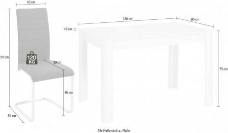 Set de living Lynn/Kate, 4 scaune si o masa, alb prespalat/maro, 120 x 80 x 75 cm