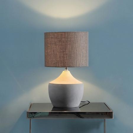Veioza Tulla tesatura/beton, gri, rotund, 1 bec, diametru 26 cm, 230 V