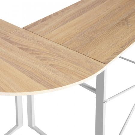 Birou Kreitler în formă de L, PAL, alb, 72.5cm H x 123cm W x 103cm D