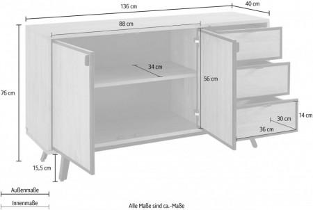 Comoda Malu pin/MDF/metal, maro/negru, 136 x 40 x 76 cm