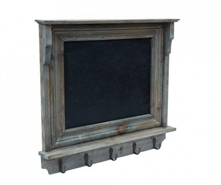 Cuier cu carlige si tabla de scris Liam lemn/fier, gri, 49 x 3 x 45 cm