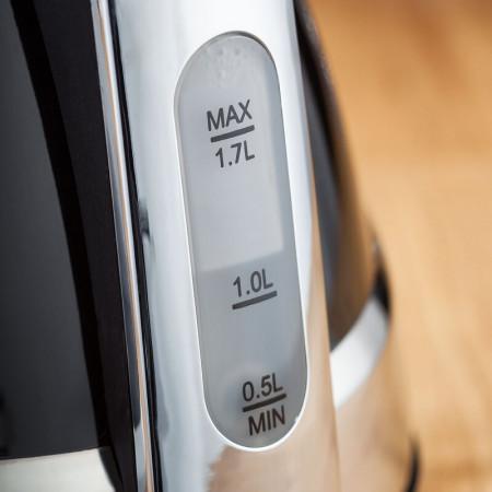 Fierbator electric din otel inoxidabil, negru / argintiu, 1.7 L