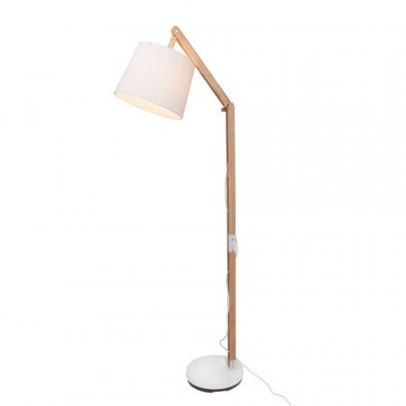 Lampadar Carlyn, bumbac/lemn masiv de pin, alb/maro, 80 x 163 x 30 cm, 230 V