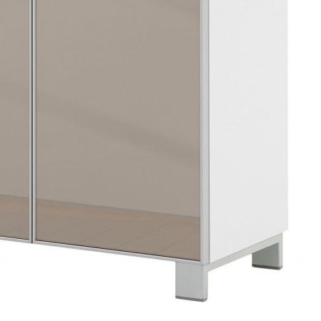 Pantofar Alavere III MDF/sticla, alb, 121 x 108 x 31 cm