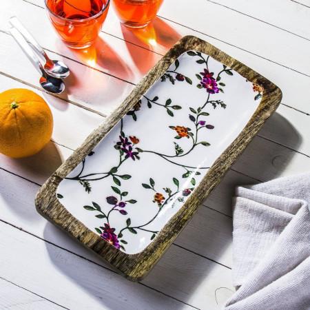 Platou Karll din lemn de mango, model flori, 30 x 15 x 3 cm