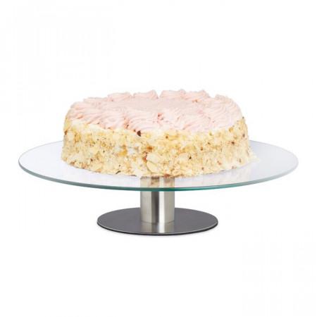 Platou pentru tort, otel inoxidabil/sticla, 7,5 x 30 x 30 cm