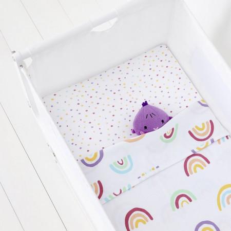 Set de 2 cearșafuri și pătură din bumbac, multicolor