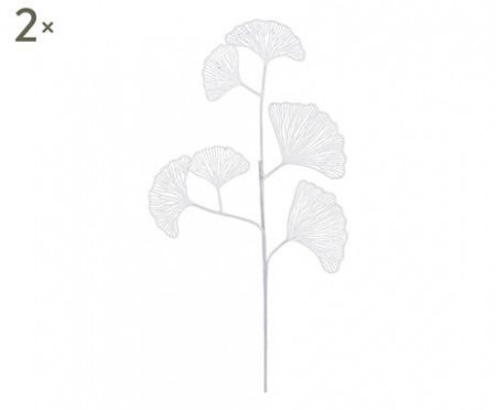 Set de 2 ramurele decorative Ginkgo albe