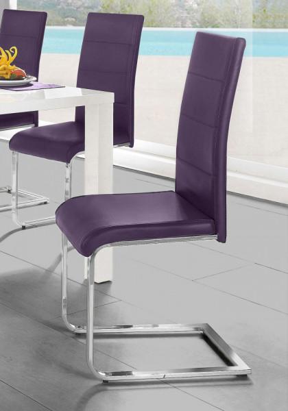 Set de 2 scaune tapitate Josy piele sintetica/metal, mov/argintiu, 42 x 44 x 103 cm