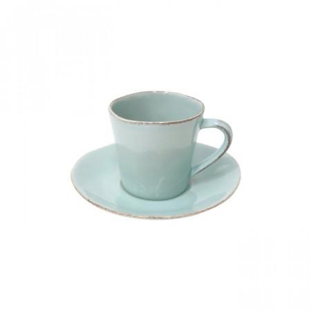 set de 6 cesti si farfurii de cafea Treanor, turcoaz