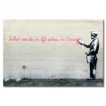 """Tablou """"Banksy nr.17"""", panza, gri, 40 x 60 x 2 cm"""