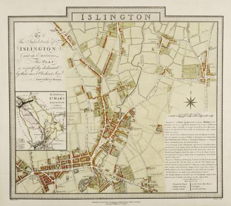 Tablou canvas Map of Islington London by Edward and Benjamin Baker