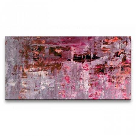 Tablou, lemn/panza, roz, 60 x 120 x 3 cm
