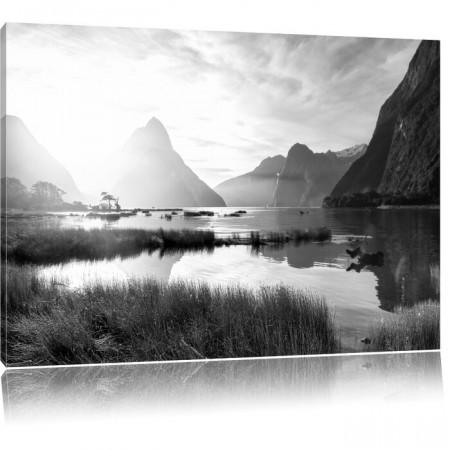 "Tablou ""Milford Sound New Zealand"", panza, alb-negru, 70 x 100 x 1,8 cm"