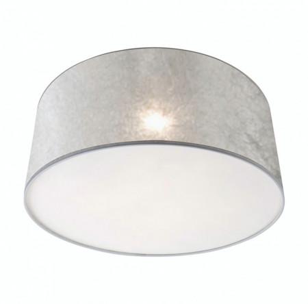 Abajur rotund, plastic/textile, argintiu/transparent, 1 bec