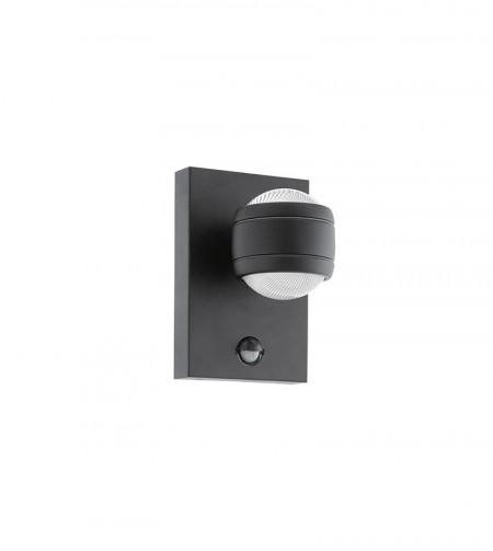 Aplica exterior cu senzor Sesimba, LED, metal/plastic, negru/transparent, 2 becuri, 3,7 W, 560 lm