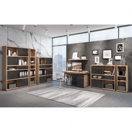 Biblioteca Rya I PAL vopsit/stejar, maro/gri, 117 x 113 x 37 cm
