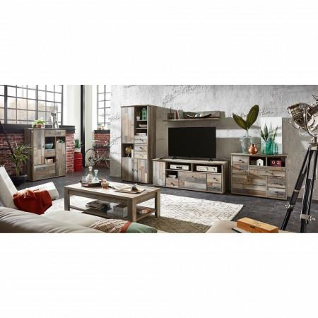 Comoda TV Tapara IV PAL/zinc/plastic, maro/gri, 162 x 61 x 52 cm