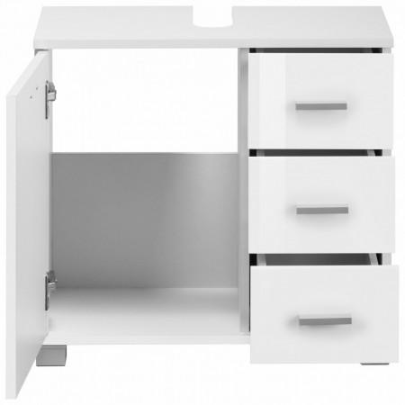 Dulap pentru chiuveta Rowan, metal/plastic/lemn, alb, 60/30/55 cm