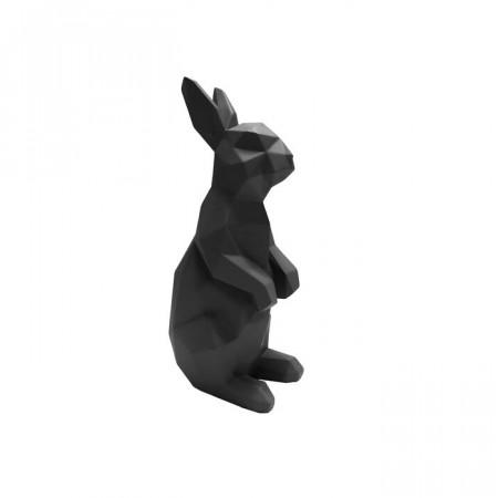 Figurina iepuras, polyresin, neagra, 25,2 x 12,5 x 8,7 cm