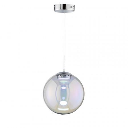 Lustra tip pendul LED Grace sticla/fier, argintiu, 1 bec, 220 V, diametru 30 cm