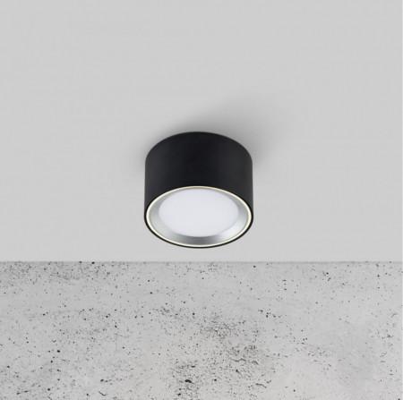 Plafoniera LED Fallon I vinil/otel, 1 bec, negru, diametru 10 cm, 110 V