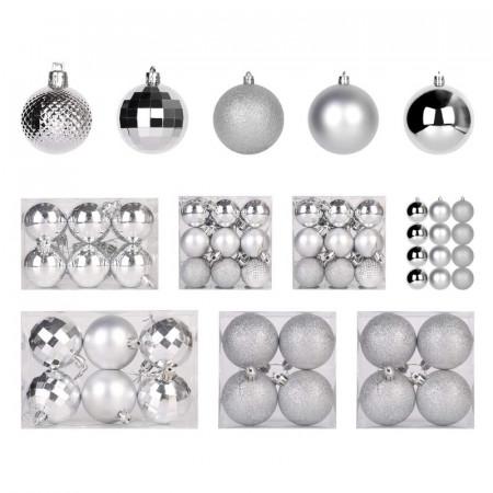Set de 100 de globuri argintii, d. 7cm