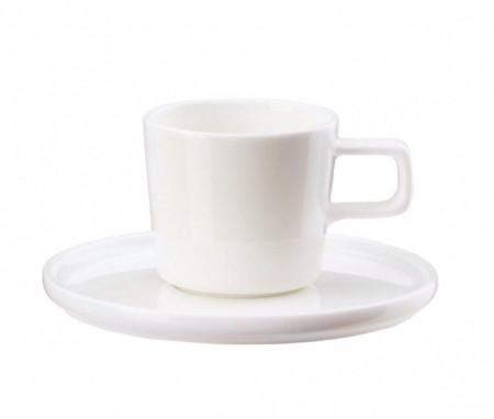 Set de 6 cani si 6 farfurioare pentru cafea Oco, albe