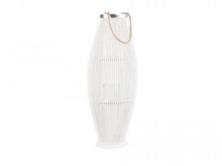 Suport pentru lumanari TAHITI, lemn, alb, 84 cm