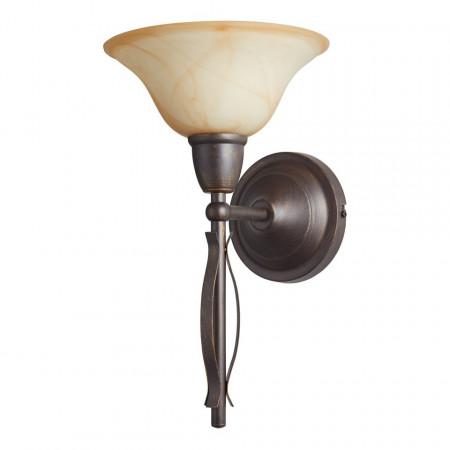 Veioza Fiore metal/sticla, maro, 1 bec, diametru 24 cm, 230 V