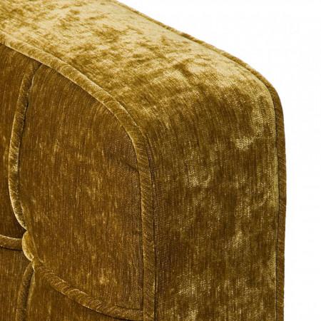 Canapea fixa 3 locuri Mirage catifea/lemn, galben auriu, 226 x 71 x 80 cm