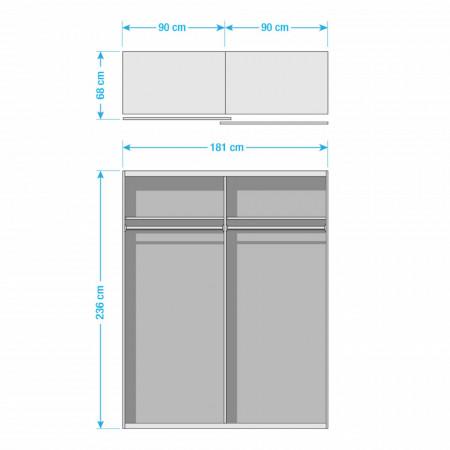 Dressing SKOP II - Inaltime: 236 cm - Latime: 181 cm - 2-usi - Premium