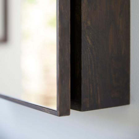 Dulapior cu oglinda Milan stejar masiv, maro inchis, 45 x 55 x 12 cm