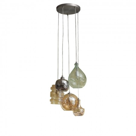 Lustra tip pendul Brooklyn II metal/sticla, multicolor, 5 becuri, diametru 50 cm, 230 V