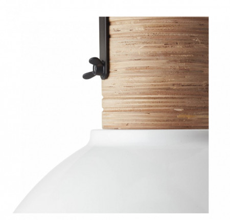 Pendul Barrow fier/material pe baza de lemn, 1 bec, alb-negru, 230 V