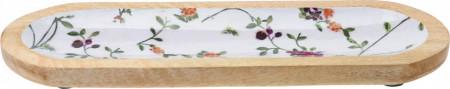 Platou Karll din lemn de mango, model flori, 38 x 13 x 2 cm