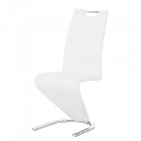Set de 2 scaune Amanda, imitatie de piele, alb