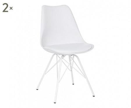 Set de 2 scaune Margie, imitatie de piele, alb