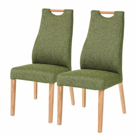 Set de 2 scaune Spofford tesatura/lemn stejar, verde maslina, 47 x 104 x 44 cm