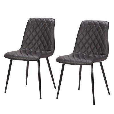 Set de 2 scaune tapitate Tervo cu piele naturala, negru