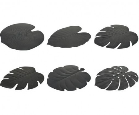 Set de 6 naproane Jungle, negru, 37 x 47 cm