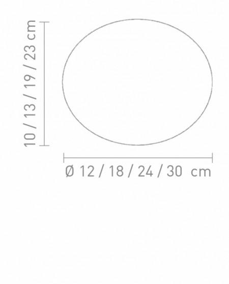 Veioza Glas Oval alba, 1 bec, sticla, rotunda, diametru 30 cm, 230 V, 40 W
