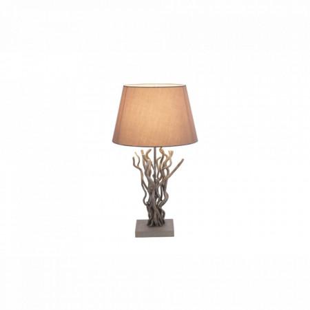 Veioza Jamie Grove II, țesătura/lemn, gri, 1 bec, diametru 35 cm, 230 V